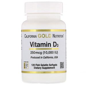 California Gold Nutrition, Vitamin D3, 250 mcg (10,000 IU), 120 Fish Gelatin Softgels отзывы