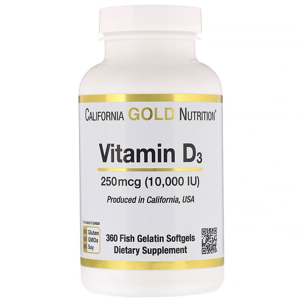 California Gold Nutrition, Vitamin D3, 250 mcg (10,000 IU), 360 Fish Gelatin Softgels (Discontinued Item)