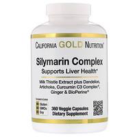 California Gold Nutrition, シリマリンコンプレックス、肝臓の健康、オオアザミ、クルクミン、アーティチョーク、タンポポ、ショウガ、ブラックペッパー、植物性カプセル360錠