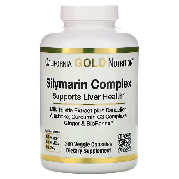Complejo de silimarina, salud del hígado, cardo mariano, curcumina, alcachofa, diente de león, jengibre, pimienta negra, 360 cápsulas vegetarianas