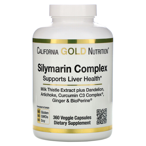 California Gold Nutrition, Silymarin Complex, Liver Health, Milk Thistle, Curcumin, Artichoke, Dandelion, Ginger, Black Pepper, 360 Veggie Capsules