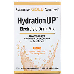 California Gold Nutrition, HydrationUP, Electrolyte Drink Mix, Citrus, 20 Stick Packet, 0.16 oz (4.4 g) Each