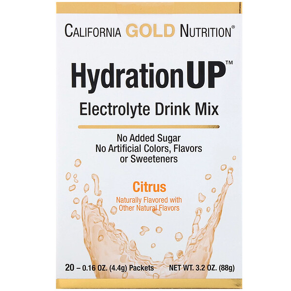 HydrationUP, Electrolyte Drink Mix, Citrus, 20 Packets, 0.16 oz (4.4 g) Each