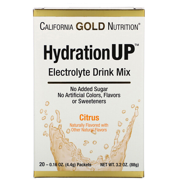 California Gold Nutrition, HydrationUP,電解質飲品混合物,柑橘味,20 包,0.16 盎司(4.4 克)