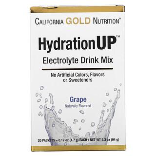 California Gold Nutrition, HydrationUP, смесь для приготовления электролитического напитка, виноград, 20пакетиков, 4,7г (0,17унции) в каждом