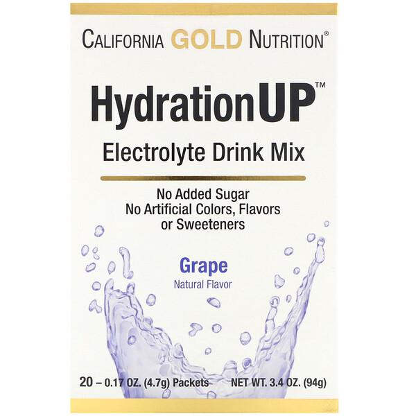 HydrationUP, mezcla para preparar bebidas con electrolitos, uva, 20 paquetes, 4,7g (0,17oz) cada uno