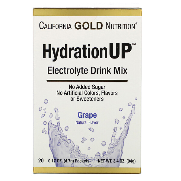 HydrationUP, Electrolyte Drink Mix, Grape, 20 Packets, 0.17 oz (4.7 g) Each