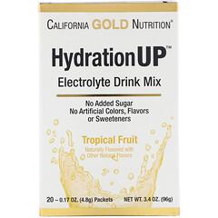 California Gold Nutrition, HydrationUP, mezcla para preparar bebidas con electrolitos, frutas tropicales, 20 paquetes, 4,8 g (0,17 oz) cada uno