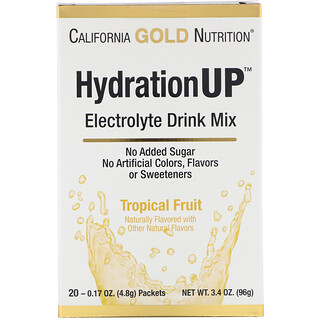 California Gold Nutrition, HydrationUP, Electrolyte Drink Mix, Tropical  Fruit, 20 Packets, 0 17 oz (4 8 g) Each
