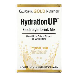 California Gold Nutrition, HydrationUP, смесь для приготовления электролитического напитка, тропические фрукты, 20пакетиков, 4,8г (0,17унции) в каждом