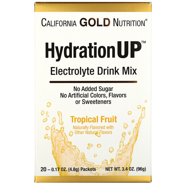 California Gold Nutrition, HydrationUP, Electrolyte Drink Mix, Tropical Fruit, 20 Packets, 0.17 oz (4.8 g) Each