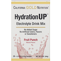 California Gold Nutrition, HydrationUP, 전해질 음료 믹스, 프루트펀치, 20 봉, 각 0.15 oz(4.2 g)