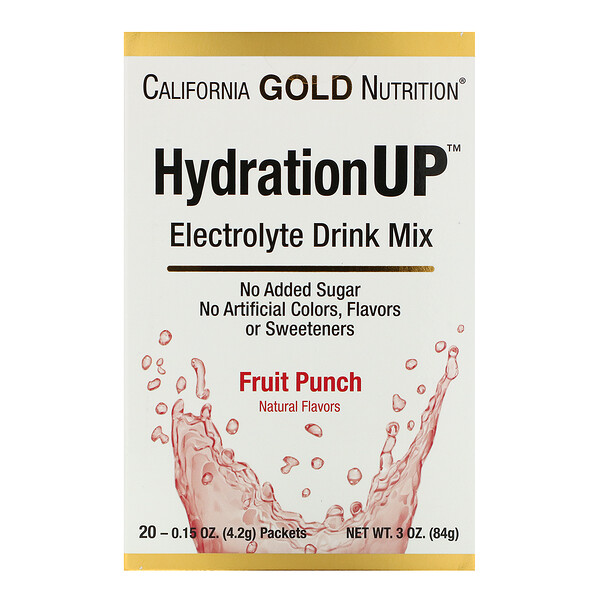 HydrationUP, Electrolyte Drink Mix, Fruit Punch, 20 Packets, 0.15 oz (4.2 g) Each