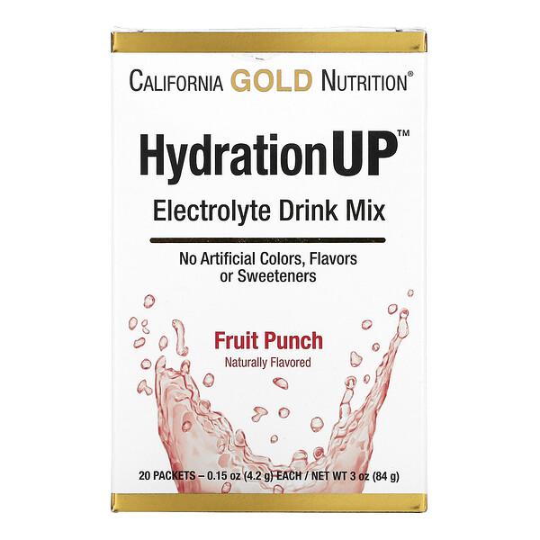 HydrationUP,电解质混合饮品粉,水果宾治,20 小包,每包 0.15 盎司(4.2 克)