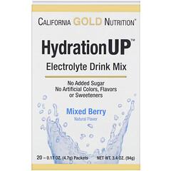 California Gold Nutrition, ハイドレーションアップ、電解質飲料ミックス、ミックスベリー、20袋入り、各4.7g