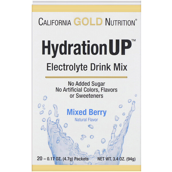 California Gold Nutrition, HydrationUP, Electrolyte Drink Mix, Fruit Punch, 20 Packets, 0.15 oz (4.2 g) Each