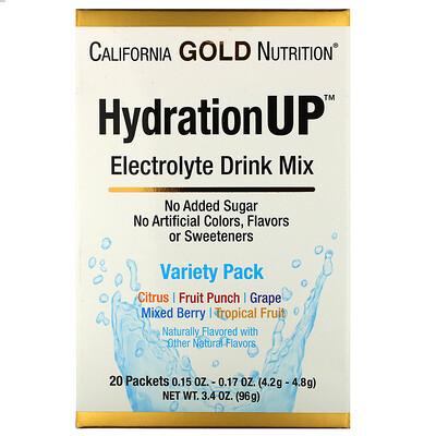 California Gold Nutrition HydrationUP, смесь для напитка с электролитами, комбинированный набор из 20 пакетов весом 0,15унции (4,2г) каждый