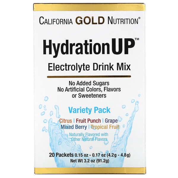 HydrationUP, 전해질 드링크 믹스, 버라이어티 팩, 20팩, 팩당 4.2g(0.15oz)