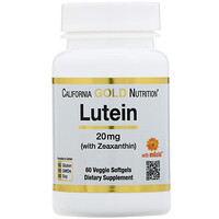California Gold Nutrition, Лютеин с зеаксантином, 60растительных мягких таблеток, 20мг
