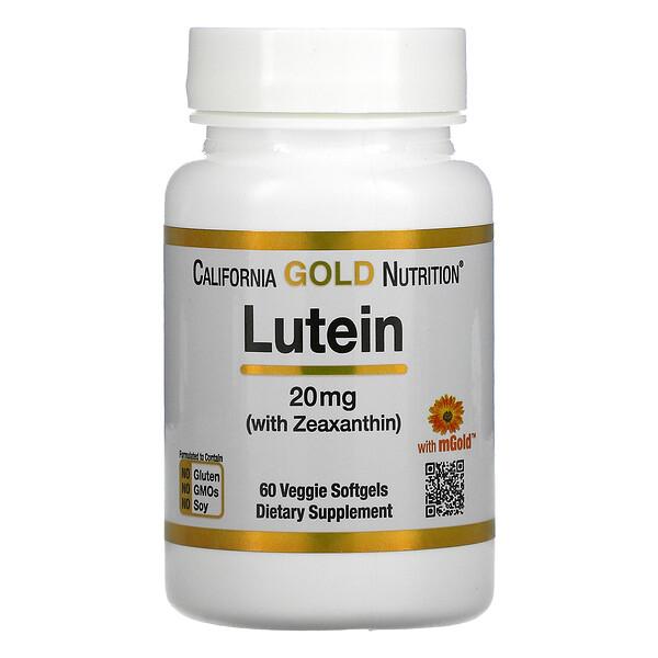 California Gold Nutrition, لوتين مع زياكسانثين، 20 ملجم، 60 كبسولة هلامية نباتية