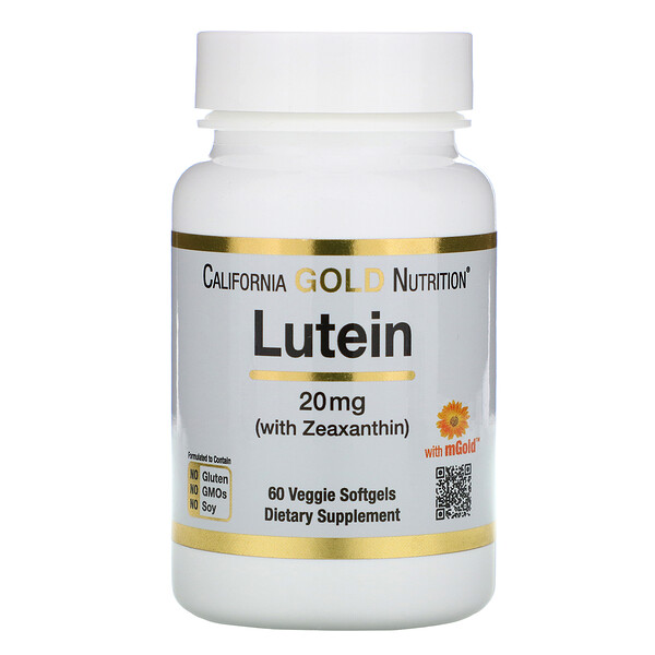 California Gold Nutrition, לוטאין עם זאקסנטין, 20 מ״ג, 60 כמוסות ג'ל צמחיות רכות