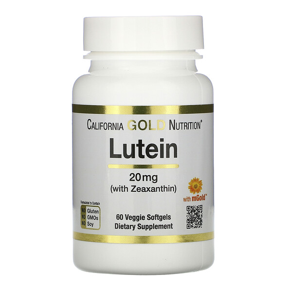 California Gold Nutrition, Lutein with Zeaxanthin, 20 mg, 60 Veggie Softgels