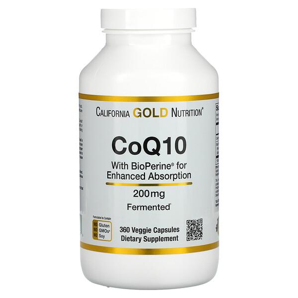 California Gold Nutrition, КоэнзимQ10 фармацевтической чистоты (ФСША) с Bioperine, 200мг, 360растительных капсул