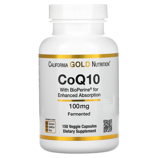 California Gold Nutrition, Bioperine(バイオペリン)配合コエンザイムQ10 USP、100mg、ベジカプセル150粒