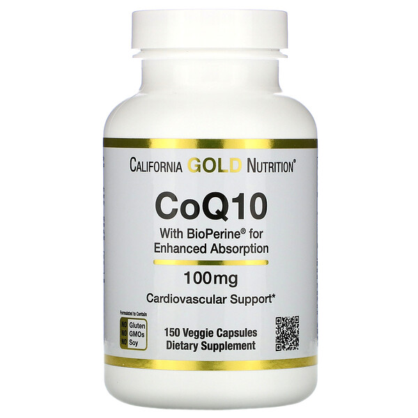 """California Gold Nutrition, CoQ10 USP עם ביופרין, 100 מ""""ג, 150 כמוסות צמחיות"""