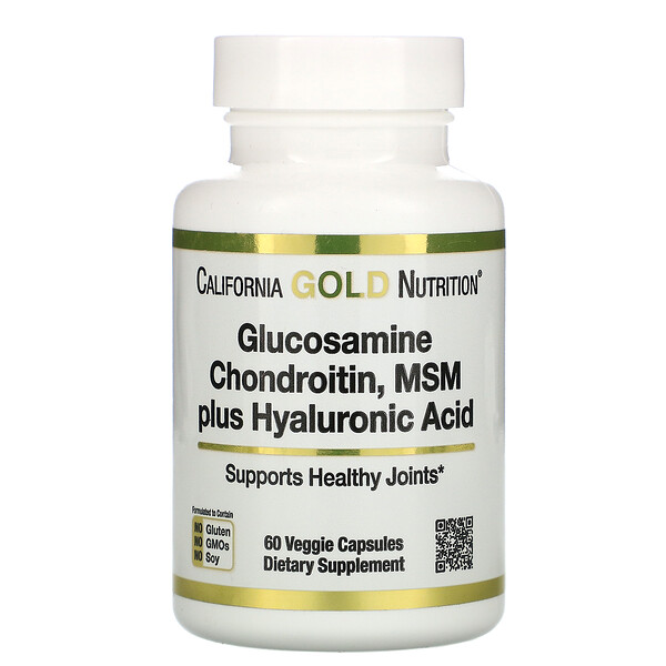 California Gold Nutrition, Glucosamine Chondroitin, MSM plus Hyaluronic Acid, 60 Veggie Capsules
