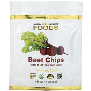 California Gold Nutrition, Beet Chips, Ready to Eat Plain Dried Slices, 1.4 oz (40g) отзывы