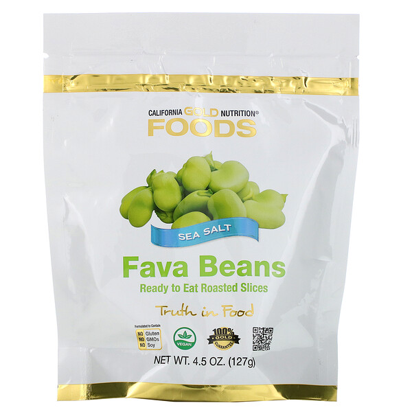 Foods, Fava Beans, Ready to Eat Roasted Slices, Sea Salt, 4.5 oz (127 g)