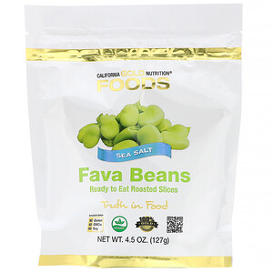 California Gold Nutrition, Foods, Fava Beans, Ready to Eat Roasted Slices, Sea Salt, 4.5 oz (127 g)