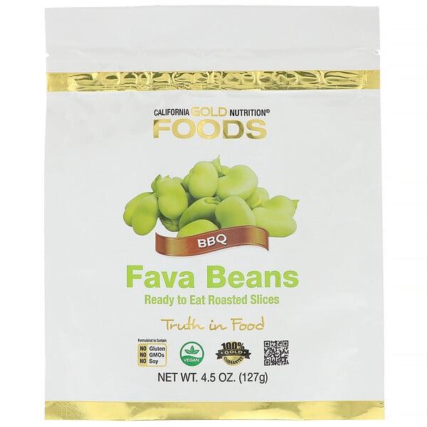 California Gold Nutrition, फ़ूड्स, फ़ावा बीन्स, खाने के लिए तैयार रोस्टेड स्लाइस, BBQ, 4.5 आउंस (127 ग्राम)