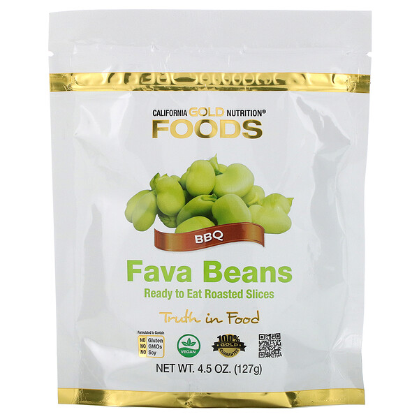 California Gold Nutrition, Foods, Fava Beans, Ready to Eat Roasted Slices, BBQ, 4.5 oz (127 g)