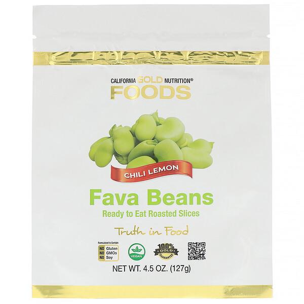 California Gold Nutrition, फ़ूड्स, फ़ावा बीन्स, खाने के लिए तैयार रोस्टेड स्लाइस, चिली लेमन, 4.5 आउंस (127 ग्राम)