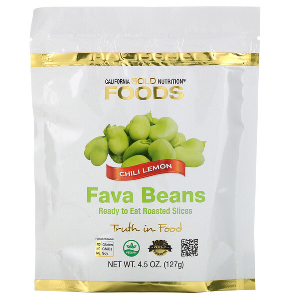 California Gold Nutrition, Foods, Fava Beans, Ready to Eat Roasted Slices, Chili Lemon, 4.5 oz (127 g) (Discontinued Item)