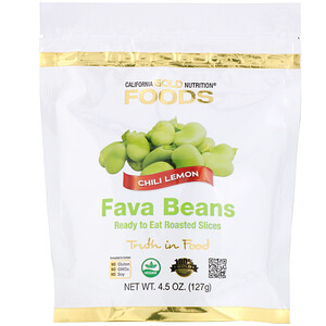 California Gold Nutrition, Foods, Fava Beans, Ready to Eat Roasted Slices, Chili Lemon, 4.5 oz (127 g)