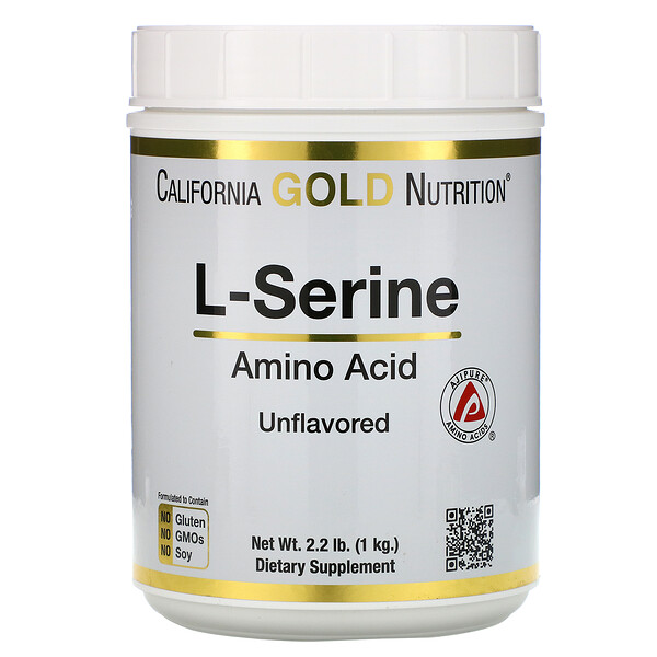 California Gold Nutrition, L-Serine, AjiPure, Unflavored Powder, 2.2 lb (1 kg)