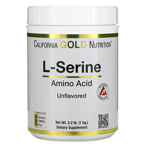 California Gold Nutrition, L-Serine, AjiPure, Unflavored Powder, 2.2 lb (1 kg) отзывы