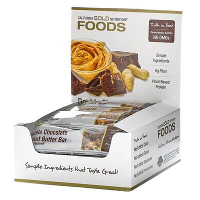 Купить California Gold Nutrition Foods, батончики со вкусом двойного шоколада и арахисовой пасты, 12батончиков, по 40г (1, 4унции)