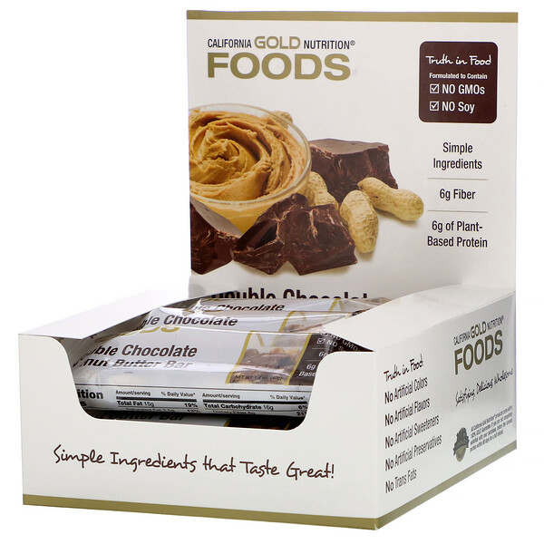 California Gold Nutrition, Foods, Barritas sabor doble chocolate y mantequilla de maní, 12 barritas, 40 g (1,4 oz)