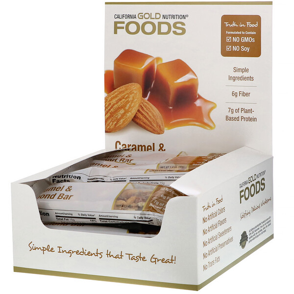 Foods, Caramel & Almond Bars, 12 Bars, 1.4 oz (40 g) Each