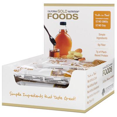 Купить California Gold Nutrition Перекусы. Батончики с кленовым сиропом, орехами и морской солью, 12шт., 40г (1, 4унции) каждый