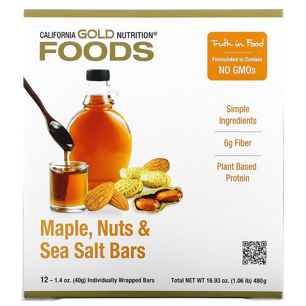 Foods, Müsliriegel mit Ahornsirup, Nüssen und Meersalz, 12Riegel, jeweils 40g (1,4oz.)