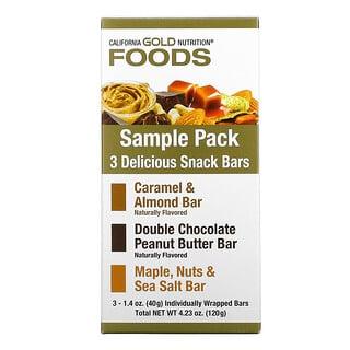 California Gold Nutrition, Foods, Sample Snack Bar Pack, 3 Bars, 1.4 oz (40 g) Each