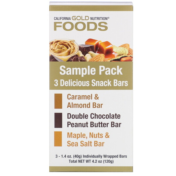 California Gold Nutrition, Sample Snack Bar Pack, 3 Bars, 1.4 oz (40 g) Each