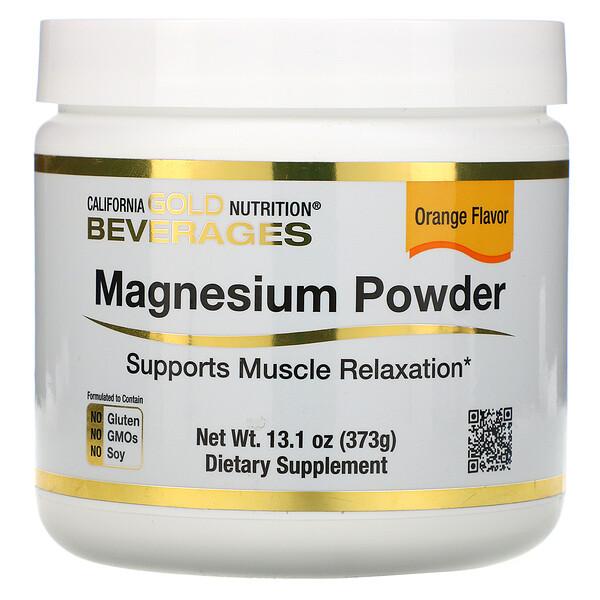 Magnesium Powder Beverage, Orange Flavor, 13.1 oz (373 g)