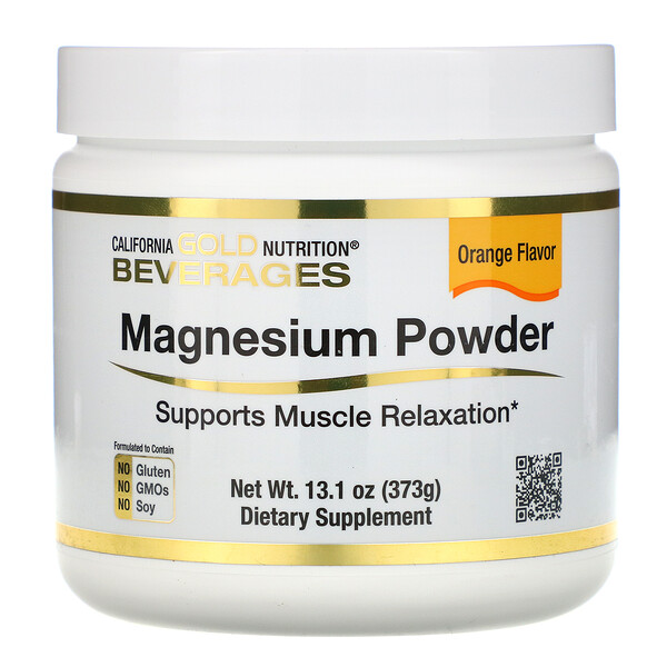 California Gold Nutrition, Magnesium Powder Beverage, Orange Flavor, 13.1 oz (373 g)
