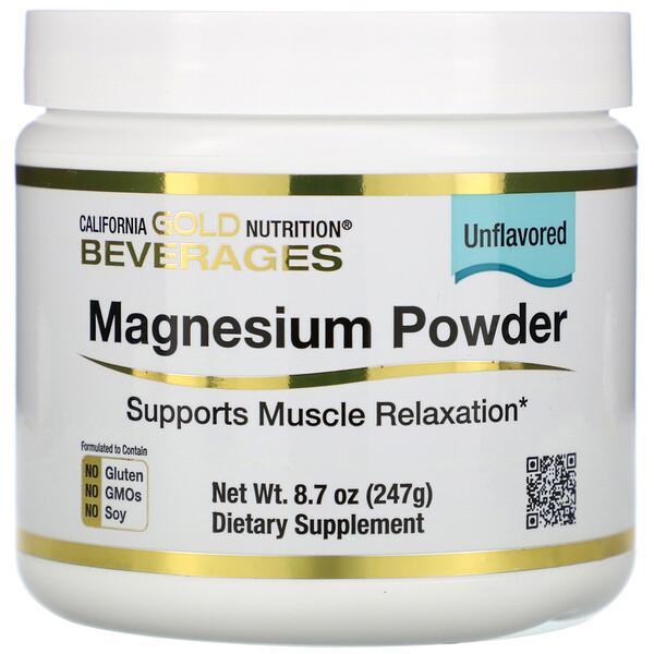California Gold Nutrition, משקה אבקת מגנזיום, ללא טעם, 247 גרם (8.7 אונקיות)